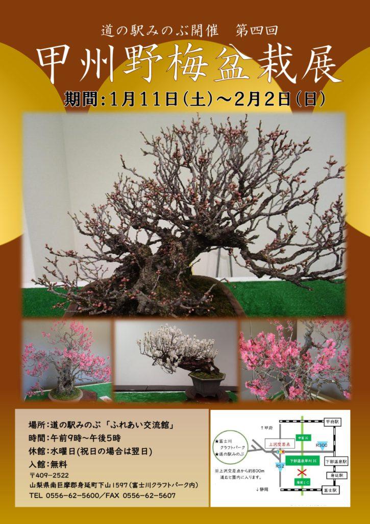 甲州野梅盆栽展(2020)チラシ